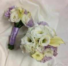 Purple and White Bridesmaid Bouquets