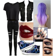 Ticci Toby's. female outfit-For story by princesskaylat on Polyvore featuring polyvore fashion style Pieces Jean-Paul Gaultier Miss Selfridge Converse Charlotte Tilbury