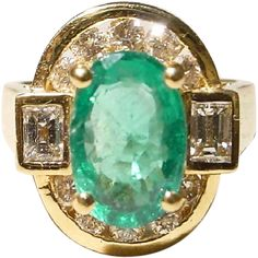 Great 2.4Ct. Vitreous Emerald- Emerald Diamond Ring with 18KT Yellow Gold - Gorgeously Charm