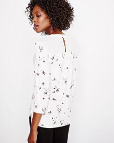 Printed Mixed Media Henley T-Shirt