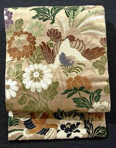 Vintage silk nagoya obi with peony, kiku 'chrysanthemum', and long-tailed bird pattern