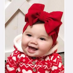 Baby Girl Bows, Girl Hair Bows, Baby Girl Headbands, Girls Bows, Baby Knitting, Crochet Baby, Red Headband, Cute Girls Hairstyles, Big Bows
