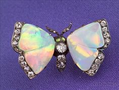 Antique Opal and Diamond Butterfly Brooch