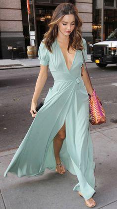 miranda kerr turquoise maxi dress streetstyle