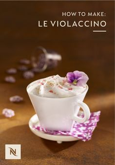Looking to upgrade your gourmet coffee skills? Check out this Le Violaccino recipe from Nespresso. This elegant coffee recipe pairs Capriccio Grand Cru with ginger, violet syrup, and a delicate edible pansy to create a sweet drink that looks almost as good as it tastes. Learn how to make yours today.