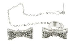 $10 JEWELRY SPECIAL :: BOW PAVE CRYSTAL CUFF EARRINGS WITH CHAIN (SILVER Pave) - $10