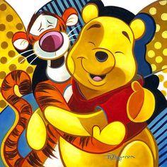 """Pals"" by Tim Rogerson - Original Oil on Board, 12x12. #Disney #WinnieThePooh #Tigger #DisneyFineArt #TimRogerson"