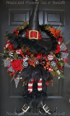 Halloween Wreath Fall Wreath Wicked Wilhelmina the by Petals n Plumes