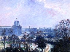 Camille Pissarro The Garden Of Tuileries And Pavilion De Flore Snow Effect 1899 Camille Pissarro, Snow Effect, Jardin Des Tuileries, Mediums Of Art, Gustave Courbet, Oil Painting Reproductions, Traditional Paintings, Painting Process, Art Challenge