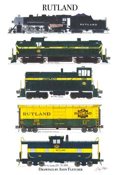 """An 11""""x17"""" poster with some of Andy Fletcher's hand drawings of Rutland locomotives and rolling stock."""