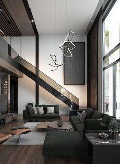 67 Spacious Home With A Warm Interior House Design 1 - onlyhomely Dream House Interior, Luxury Homes Dream Houses, Dream Home Design, Modern House Design, Dark Interiors, Black Interior Design, Minimalist Home, Modern Minimalist Living Room, Minimalistic Kitchen