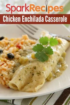 Chicken Enchilada Casserole Recipe. So healthy and so easy. Have these for dinner tonight! | via @SparkRecipes