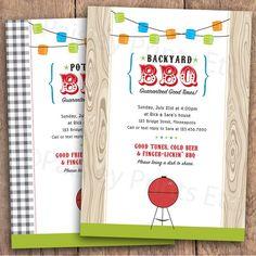 Backyard BBQ Party Invitation Option to Print by PaisleyPrintsEtc