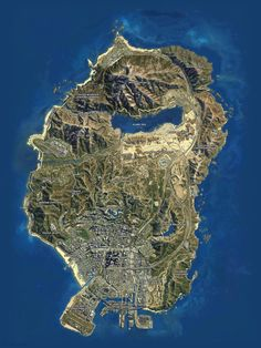 GTA 5 Map Gta City, Grand Theft Auto Series, Map Wallpaper, Gta Online, Earth From Space, 3d Prints, Aerial View, Rockstar Games, Satellite Picture