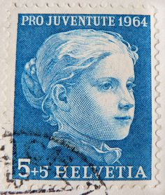 beautiful stamp Helvetia 5+5 Rappen/cent. charity stamp (painting by Albert Anker 1831-1910 / portrait of a girl) Swiss