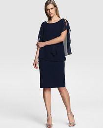Vestido de mujer Gina Bacconi en azul marino con cuerpo de gasa