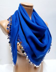 Bright sequined royal blue scarf 2012 by specialhandmades4you, $20.00