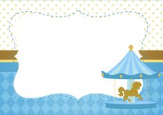 Carousel in Light Blue: Free Printable Invitations. Free Baby Shower Invitations, Baby Sprinkle Invitations, Printable Baby Shower Invitations, Baby Shower Cards, Diy Invitations, Baby Shower Printables, Party Printables, Horse Birthday Parties, First Birthday Party Decorations