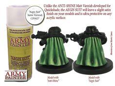 Grundierung - Aegis Suit,  seidenmatter Lack. Der neue Aegis Suit ist ein höchst schützender,  seidenmatter Sprühlack,  konzipiert für alle Tabletop- (wargaming) Figuren, welche auf konventionelle Weise bemalt wurden.  http://onlineshop.kohli.de/wuerfel-und-zubehoer/farben/army-painter/sprays/3044/base-primer-aegis-suit-satin-varnish