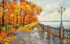 """Autumn mood - Palette Knife Oil Painting on Canvas by Dmitry Spiros. Size: 28""""x36"""" (70 x 90 cm)"""