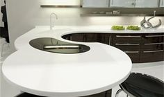 You may not be aware that if you have any type of DIY in you it might be possible to install beautiful Corian counterstops yourself. There are in fact kits that make installing attractive high-quality Corian countertops fairly Corian Worktops, Corian Countertops, Kitchen Benchtops, Kitchen Gallery, Solid Surface, Rustic Interiors, Kitchen And Bath, Home Renovation, Home Kitchens
