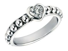 Silver Ring - Heart Solitaire