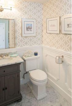 You've come to the right spot if you are looking for inspirational powder room floor ideas or half bath designs. A powder room is a welcome feature to any home. Small Bathroom Wallpaper, Wainscoting Bathroom, Bathroom Design Small, Bathroom Marble, Wainscoting Ideas, Bathroom Designs, Brown Bathroom, Bathroom Mirrors, Bathroom Cabinets