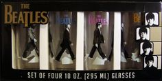 THE BEATLES-SET OF 4 10 OZ GLASSES-RINGO,JOHN.PAUL-GEORGE--ABBEY ROAD WALK-BOXED