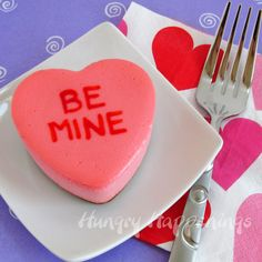 Hungry Happenings: Conversation Heart Cheesecakes made with the best cheesecake recipe.