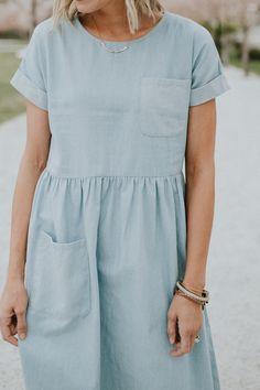 light denim pocket dress coming soon | ROOLEE