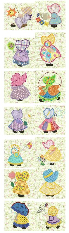 sunbonnet sue | Sunbonnet Sue Days Of the Week – Machine Embroidery Designs