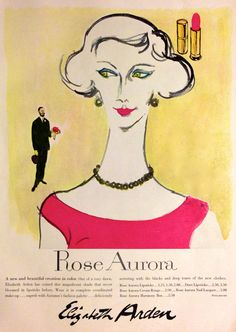 Elizabeth Arden 1944 Cecil Beaton, View of the Dressmaking Vintage Makeup Ads, Vintage Beauty, Vintage Ads, Vintage Style, Arden Rose, Cecil Beaton, Color Harmony, In Cosmetics, Old Ads