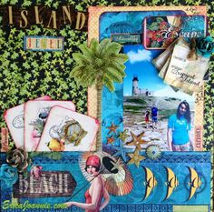 I created this layout called *Island Jewel* with these awesome papers from Graphic 45.  Please visit my blog for more cards & layouts: ericajoannie.blogspot.com Thank you for looking!! :-)