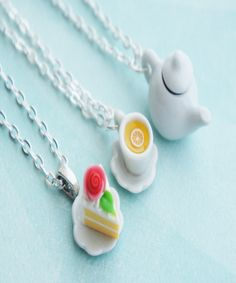tea party inspired friendship necklace