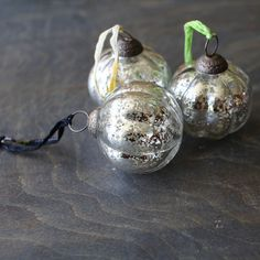 Antique Silver Mercury Glass Vintage Pumpkin Baubles, Set of Jagata Nkuku Glass Christmas Baubles, Christmas Tree Toppers, Christmas Bulbs, Christmas Decorations, Christmas 2016, Christmas Time, Mistletoe And Wine, Wooden Decor, Mercury Glass