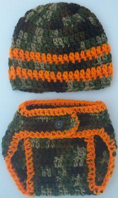 Baby Boy Crochet Diaper Cover Set -Featuring- Striped Camo Hat-Camo Diaper Cover With Button - Size Newborn- 0-3mo-3-6mo-6-12mo-Photo Prop