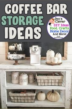 Clever home ideas! DIY decorating takes on a new creative level with these coffee bar storage cart ideas. This farmhouse coffee bar is gorgeous - love the chalkboard and rustic cabinet cart! Coffee Bars In Kitchen, Coffee Bar Home, Home Coffee Stations, Country Farmhouse Decor, Farmhouse Style Decorating, Diy Decorating, Room Paint Colors, Paint Colors For Living Room, Home Craft Decor