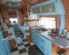 Vintage camper. Love the interior - even painted the air unit - which is pretty cool - teeheeehee