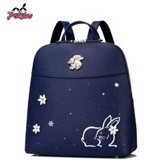(52.54$)  Buy here - http://ais6u.worlditems.win/all/product.php?id=32799530587 - JUST STAR Women PU Leather Backpack Fashion Female Rabbit Brief Leisure Daily Double Shoulder Bags Ladies Travel Rucksack JZ4247