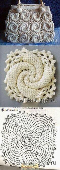 New Crochet Granny Square Purse Pattern Yarns Ideas Spiral Crochet, Freeform Crochet, Crochet Motif, Crochet Designs, Crochet Doilies, Crochet Flowers, Crochet Stitches, Crochet Patterns, Purse Patterns