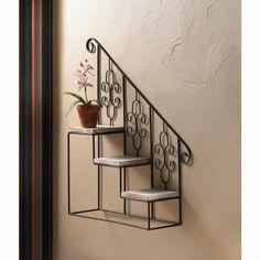 All Good Decor - Black Staircase Wall Display Black Staircase, Iron Staircase, Staircase Design, House Plants Decor, Plant Decor, Wall Hanging Plant Pots, Microsoft Windows 10, Wrought Iron Decor, Stair Steps