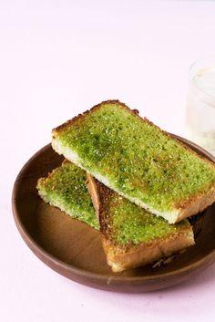 Matcha (Green Tea) Sugar Toast #greentea #matcha #toast