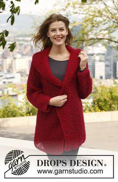 """Passion - Sweter DROPS ze ściegiem ażurowym na rękawach, z włóczki """"Vivaldi"""". - Free pattern by DROPS Design"""