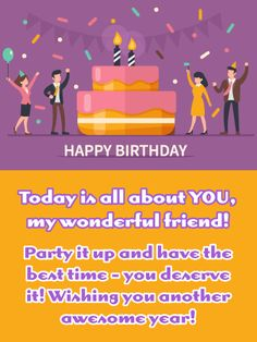 Send Free Purple Party - Happy Birthday Wish Card for Friend to Loved Ones on Birthday & Greeting Cards by Davia. It's free, and you also can use your own customized birthday calendar and birthday reminders. Happy Birthday Wishes Messages, Happy Birthday My Friend, Birthday Message For Friend, Messages For Friends, Birthday Wishes For Friend, Wishes For Friends, Happy Birthday Fun, Birthday Greeting Cards, Birthday Greetings