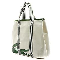 Lacoste Ivory Canvas Beach Bag