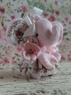 ooak  artist elephant with pink rose dress and by LittleBearPaws