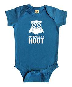 Turquoise \'My Grandma Is a Hoot\' Bodysuit - Infant