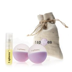 T Spheres are innovative self-massage tools born from over 17 years of research and development that combine the infusion of aromatherapy essential oil into a perfectly weighted patented rubber compound. Helps to induce sleep, alleviate stress, and relieve muscle aches.