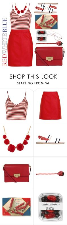 """//134//Red, white and blue"" by maria-c-simon ❤ liked on Polyvore featuring Topshop, Les Néréides, Ancient Greek Sandals and Lodis"