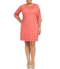 London Times Plus Lace Shift Dress #Dillards